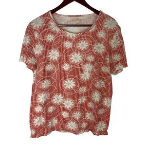 Coral Bay Floral Cotton Tee Size Large